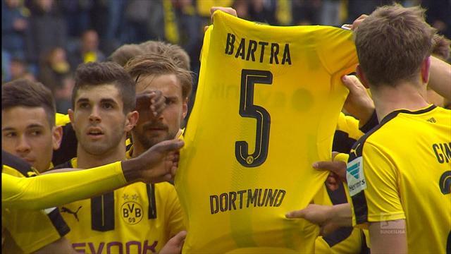 Emotional scenes as Dortmund beat Frankfurt, pay tribute to Bartra