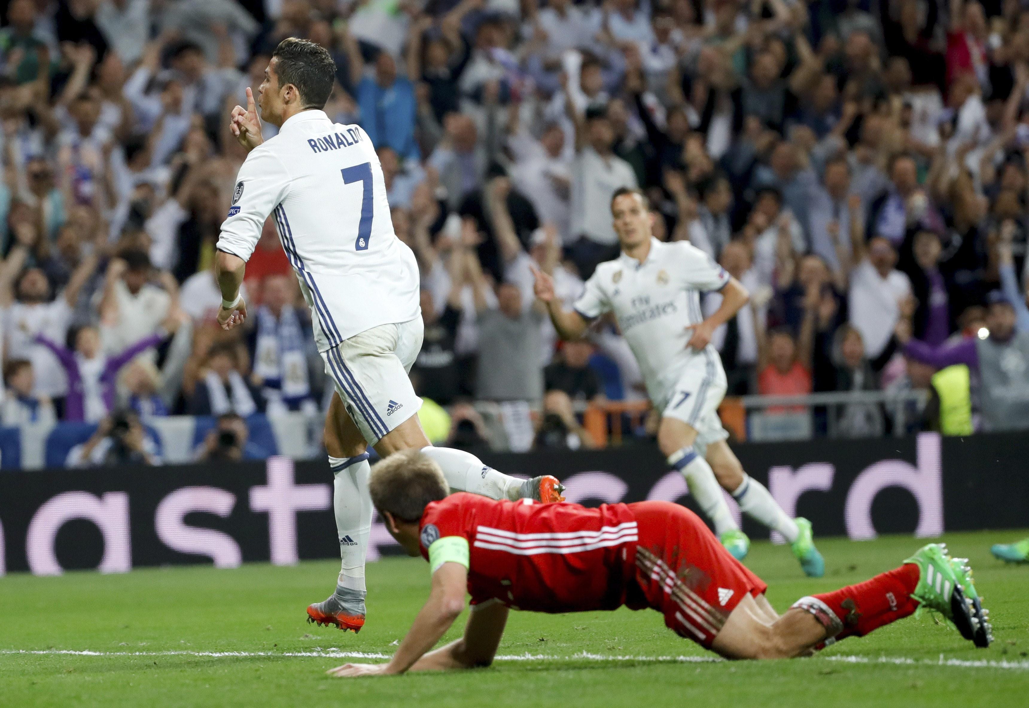 Cristiano Ronaldo celebra el gol en el Real Madrid-Bayern