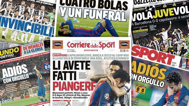 """""""L'enterrement"""" du Barça, éliminé par """"les invincibles"""" de la Juve"""