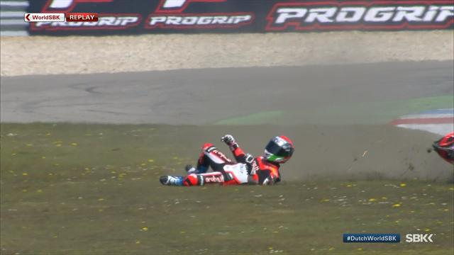 Marco Melandri crashes out in Assen