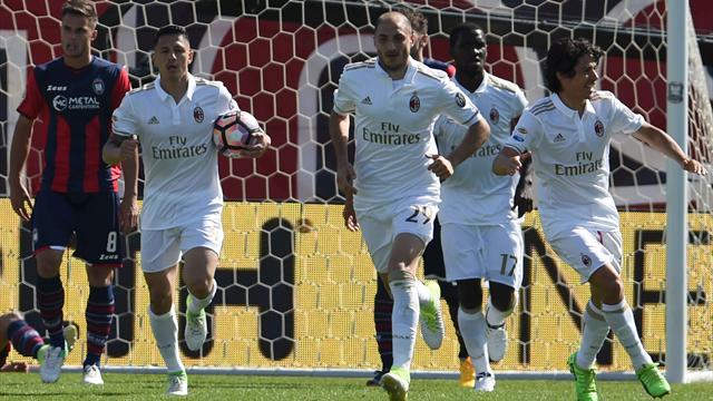 Crotone-Milan 1-1, la moviola: gol regolare annullato a Trotta