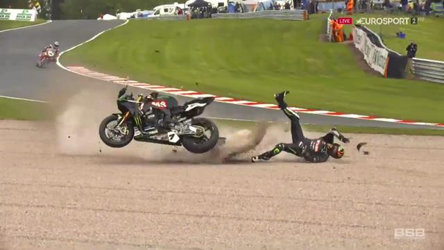 Laverty suffers shocking crash next to cameraman, walks away
