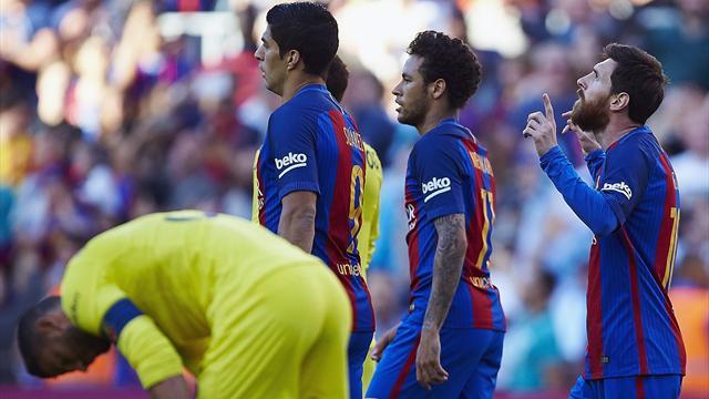 Messi-Neymar-Suarez trascinano il Barça e fanno 101 in stagione, Villarreal al tappeto