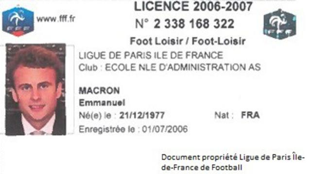 Le nouveau président de la République Emmanuel Macron a été licencié à la Ligue de foot de Paris