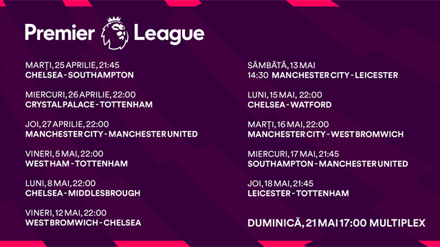 Finalul de sezon din Premier League se vede pe Eurosport 1