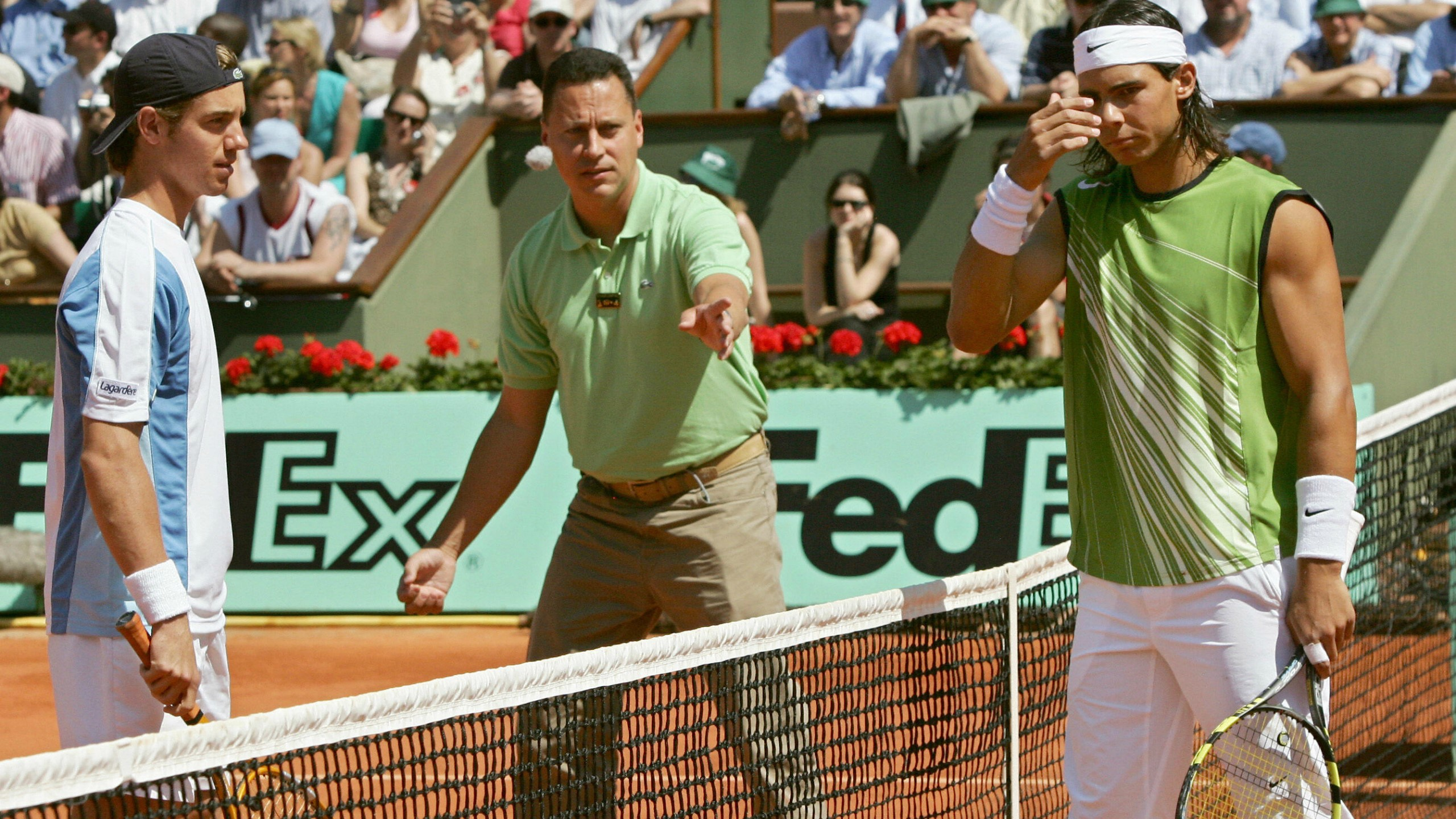 Richard Gasquet and Rafael Nadal, before the third-round match in 2005.