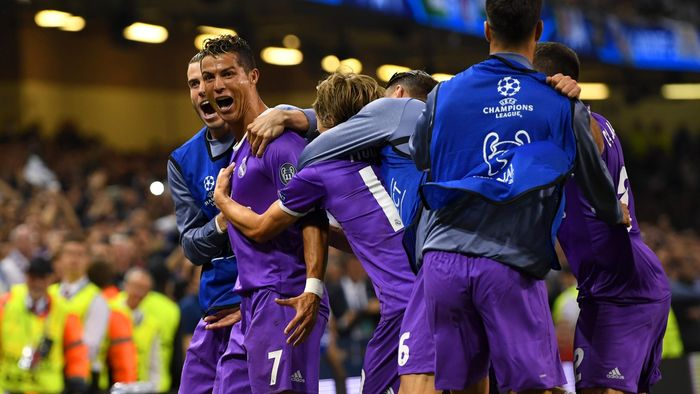 86d5b7a82543f Real Madrid celebrate Cristiano Ronaldo s second goal against Juventus in  the Champions League final