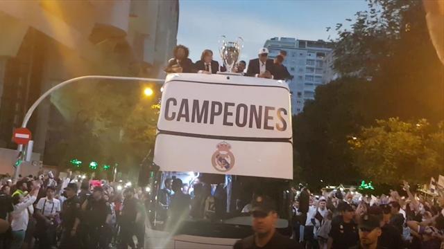 Así fue la llegada del Real Madrid al Santiago Bernabéu en la fiesta de la Duodécima