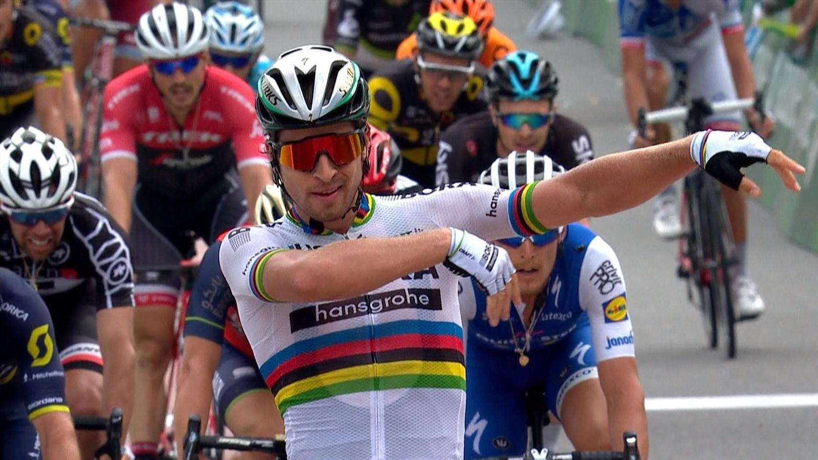 VIDEO - Tour de Suisse: Peter Sagan celebrates Stage 5 win in style - Video Eurosport UK