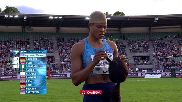 Long jumper Blessing Okagbare's wig falls off on landing
