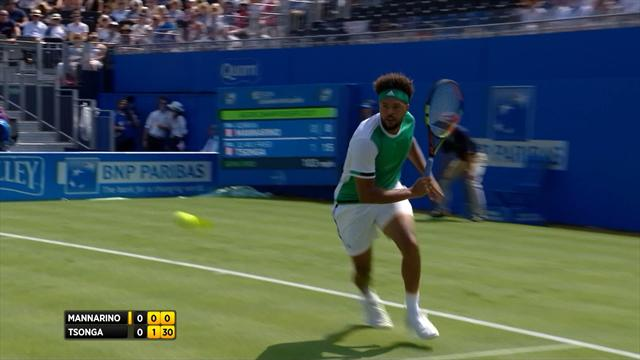 Tsonga hits stunning backhand winner after somehow staying in point