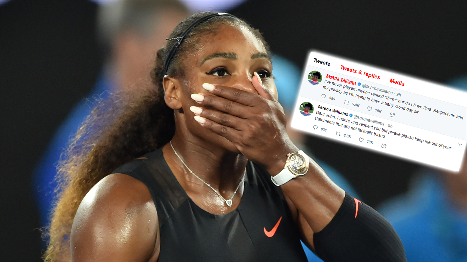 Respect me and my privacy Serena Williams hits back after John