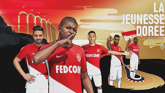 Doigt sur la bouche, Kylian Mbappé présente le nouveau maillot de l'AS Monaco