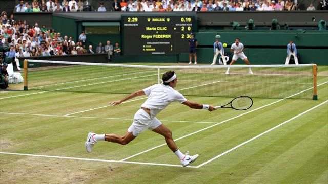 Roger Federer se lleva el primer set de la final ante Marin Cilic 3-6