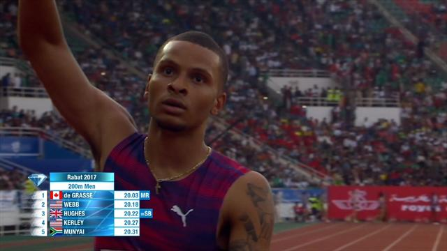 De Grasse clinches win in Rabat Diamond League 200m