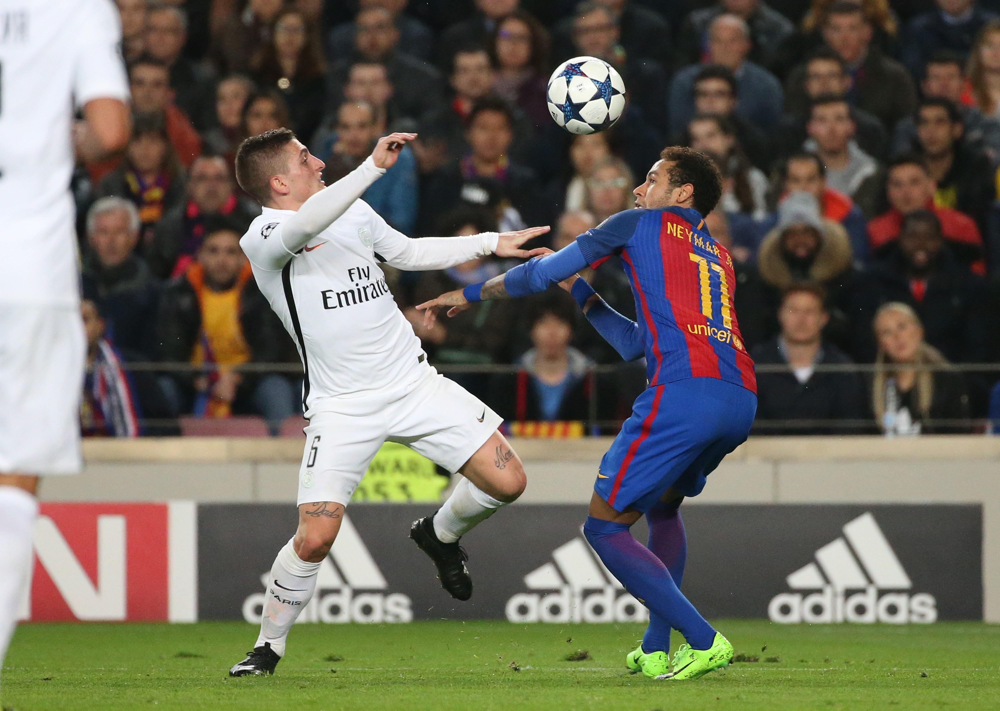 Marco Verratti (PSG) et Neymar (FC Barcelone)