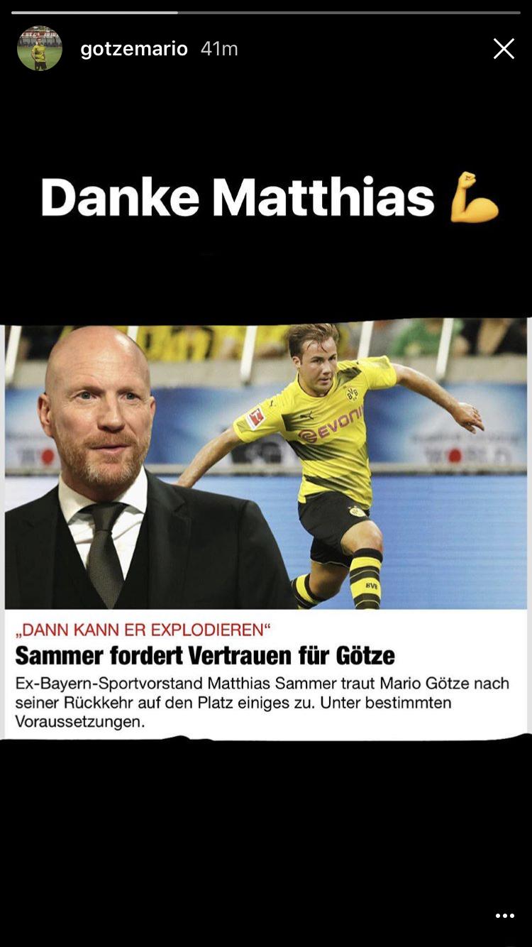 BVB Mario Götze bedankt sich bei Matthias Sammer Bundesliga