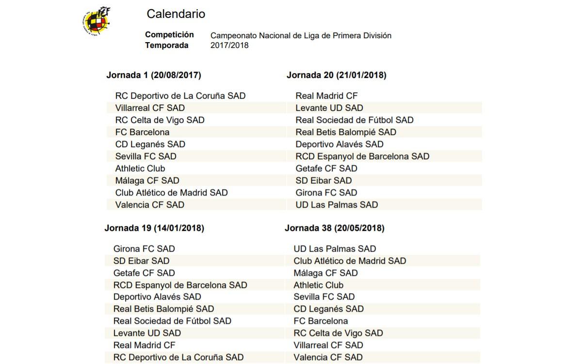 Calendario - Horarios -  La Liga Santander 2018 - 2017