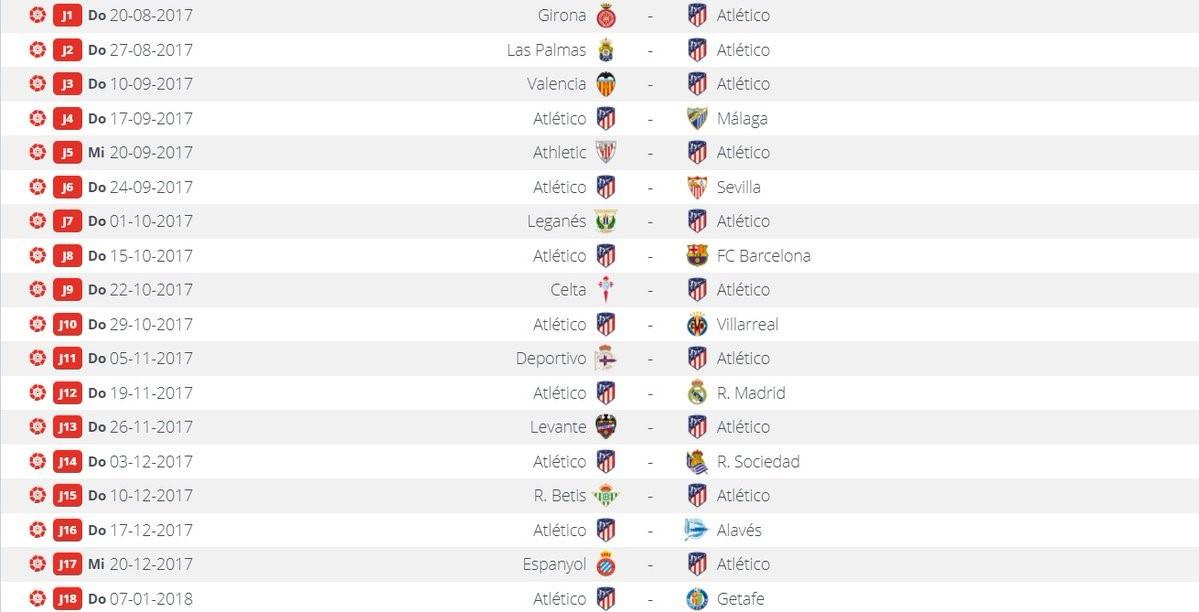 El Atlético ya conoce su calendario para la Liga 2017/2018 - La Liga ...