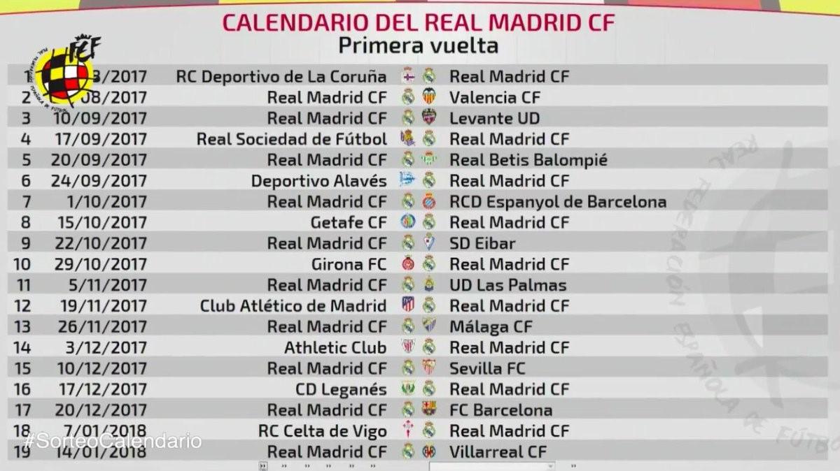Calendario Real Madrid