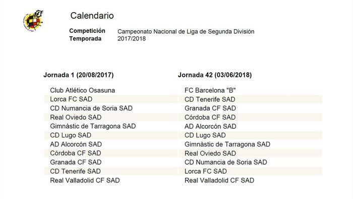 Calendario Liga Segunda.Liga 123 Segunda Division Calendario Y Horarios 2017 2018