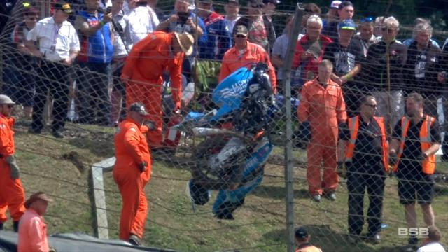 Superbike stuck in mid-air after enormous crash
