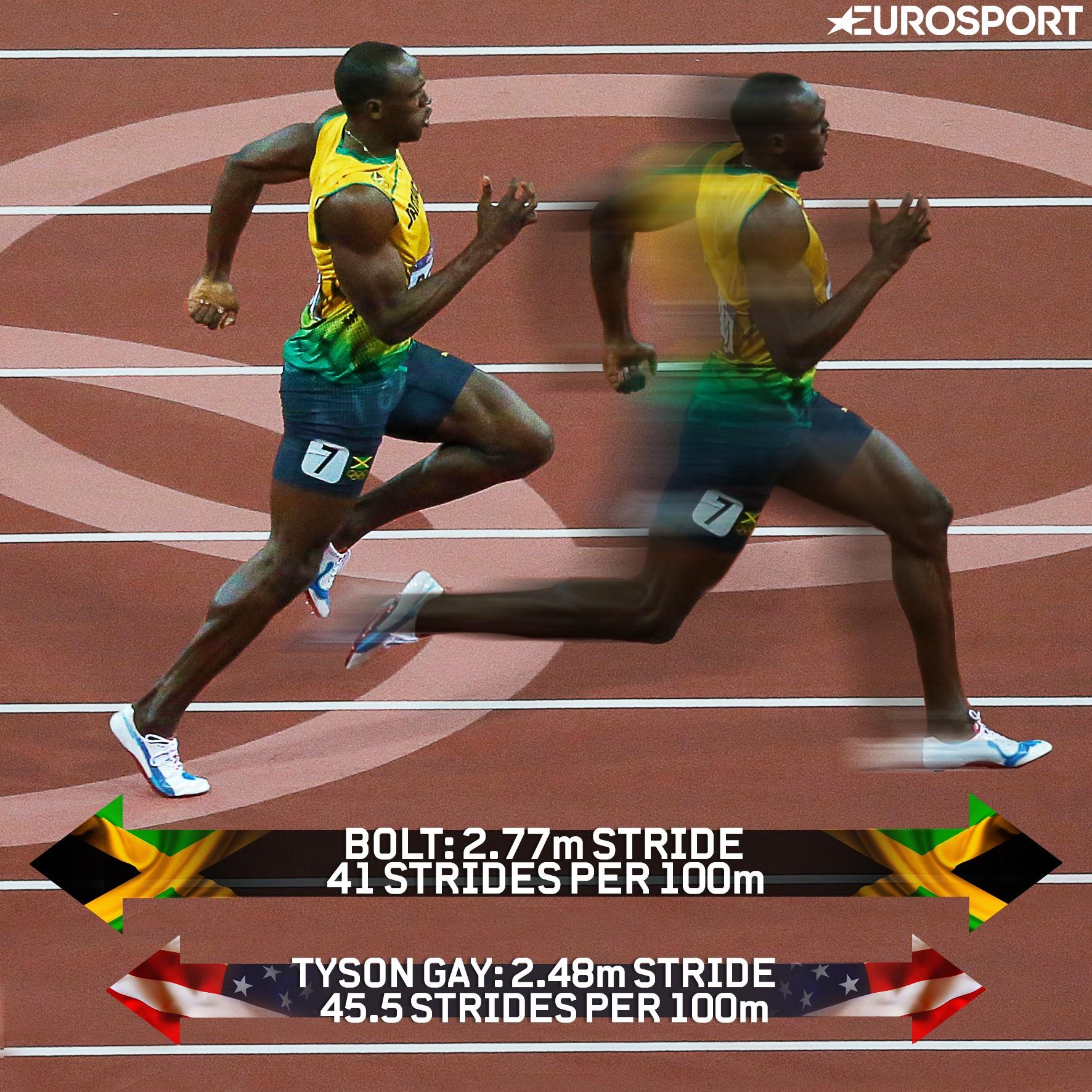Usain Bolt's superior stride length