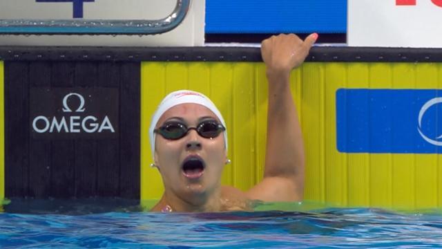 Kylie Masse stunned by world-record breaking swim