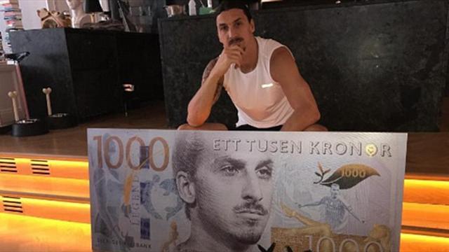 Златан Ибрагимович набанкноте в тысяча шведских крон