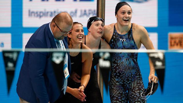 Titre et record du monde pour les Américaines sur 4x100m 4 nages