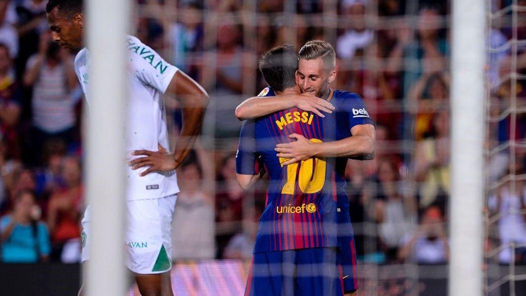Messi e Deulofeu celebrano un gol del Barcellona
