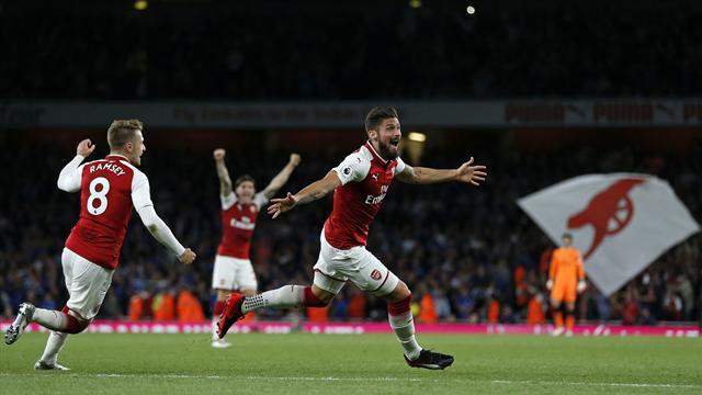 Giroud sentencia la remontada del Arsenal ante el Leicester en el último instante (4-3)