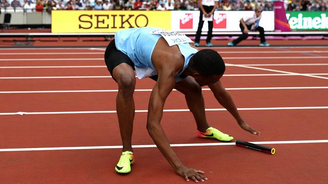 Botswana miss out after baton drop, U.S. run year's fastest time