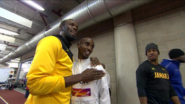 Usain Bolt and Mo Farah share tender moment