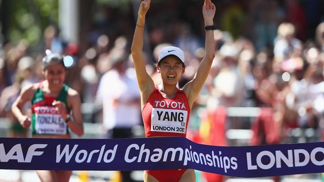 Yang takes 20km walk gold in dramatic finish on Mall