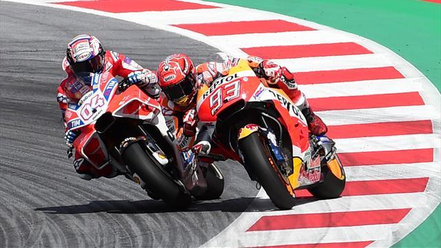 Dernier virage : Marquez, en glisse, tente l'impensable sur Dovizioso... qui repasse !