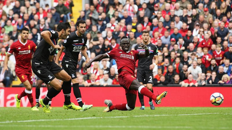 Sadio Mane scores for Liverpool against Crystal Palace