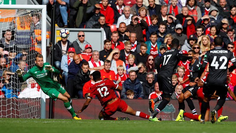 Christian Benteke shoots over for Crystal Palace against Liverpool