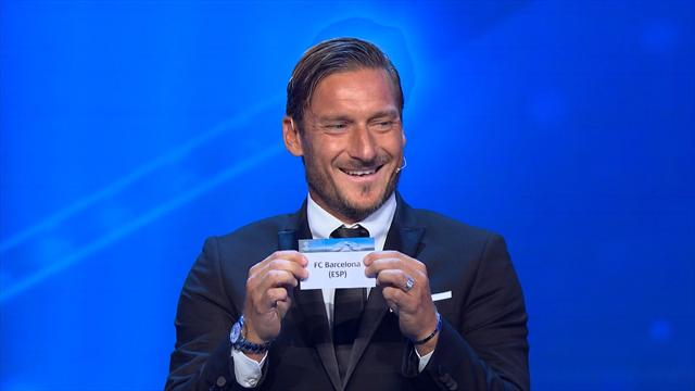 Totti cracks a smile with Buffon after drawing Barcelona