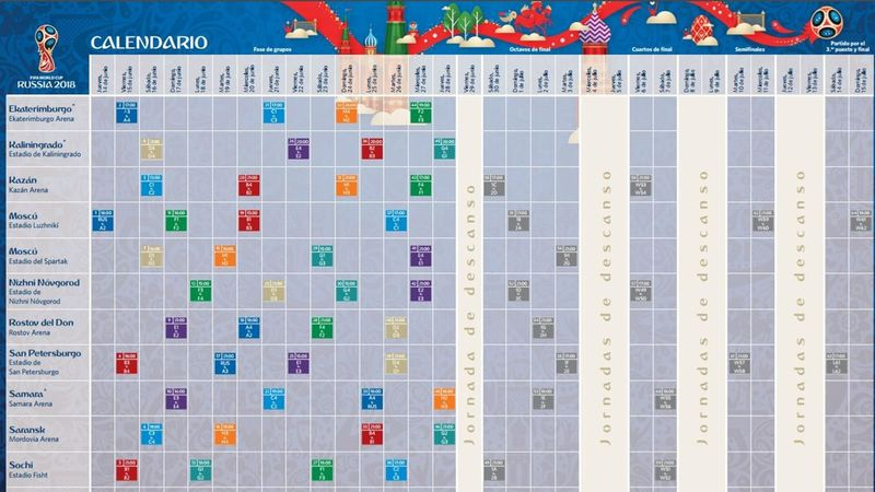 Calendario y horarios Mundial Rusia 2018