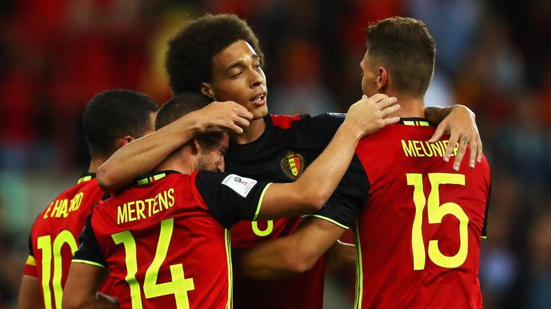 Hazard, Mertens, Witsel, Meunier lors de Belgique - Gilbraltar, qualification pour le Mondial 2018