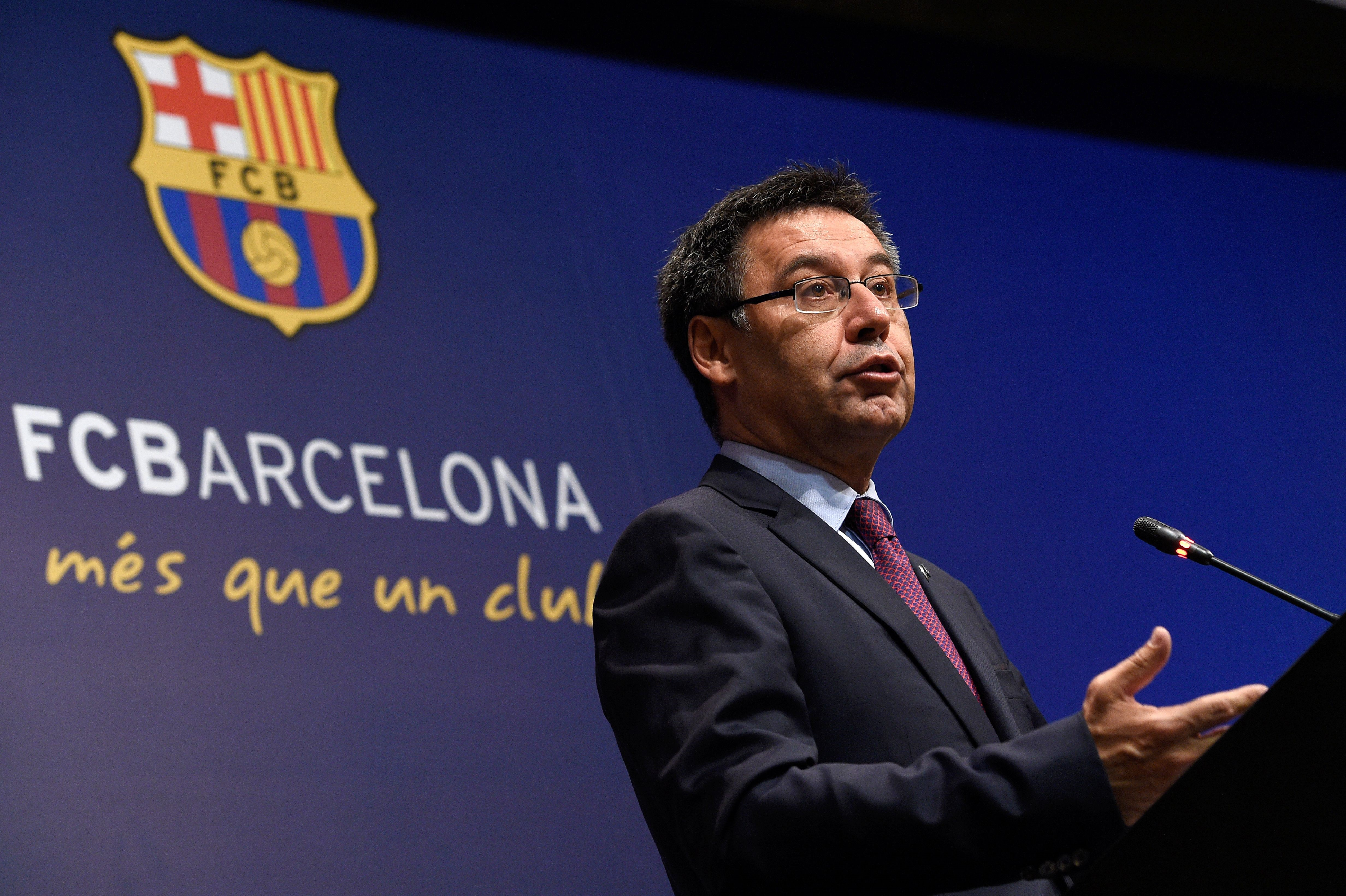Barcelona's football club president Josep Maria Bartomeu speaks during a press conference