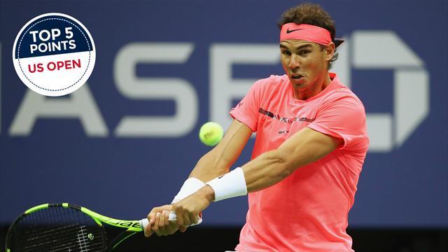 En revers, Nadal peut aussi faire très mal : le top 5 points de mercredi