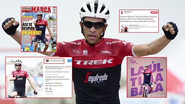 Las portadas y las leyendas del deporte se rinden a la última victoria de Contador