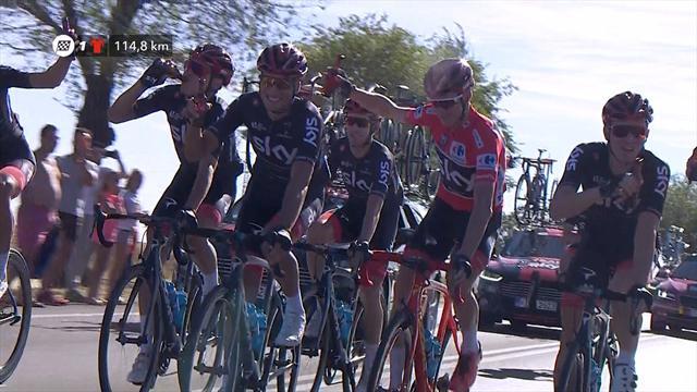 Una birra per tutto il Team Sky e il brindisi col podio: oggi si beve alla Vuelta