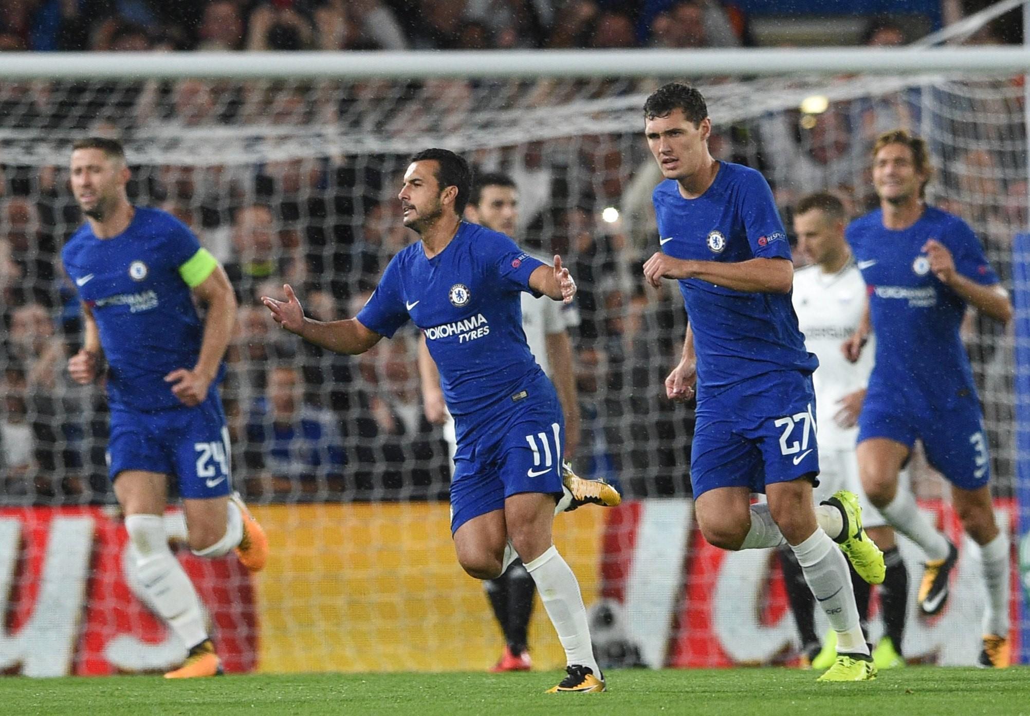 Pedro celebra un gol con el Chelsea