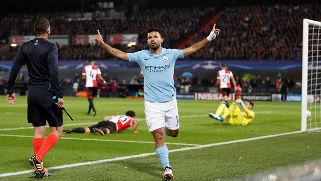 Aguero reaches goals milestone as City thrash Feyenoord