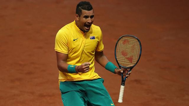 Kyrgios outlasts Darcis in five-set epic as Australia draw level with Belgium