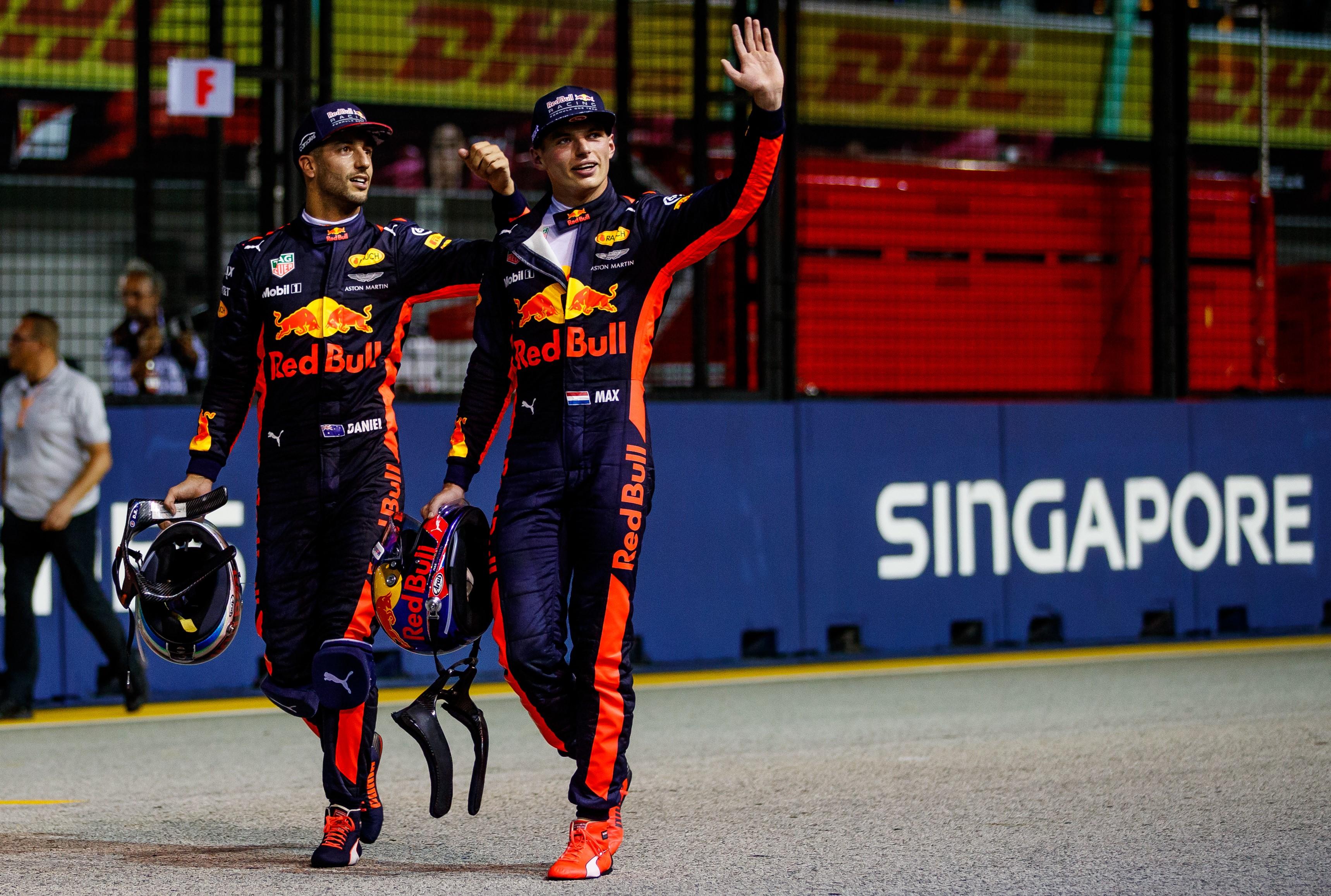 Daniel Ricciardo et Max Verstappen (Red Bull) au Grand Prix de Singapour 2017