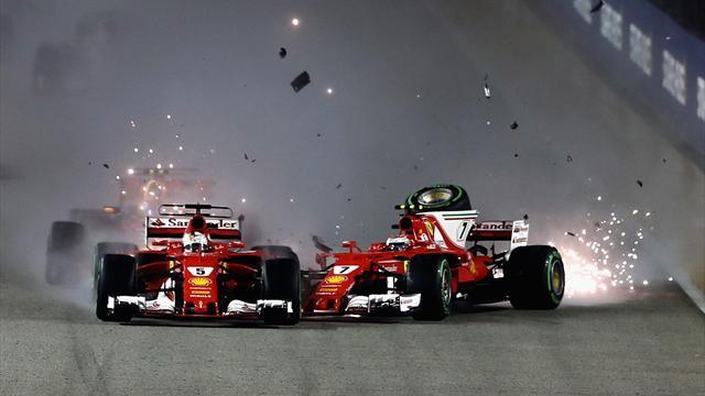 Gran Premio de Singapur: Los dos Ferrari y Verstappen, fuera de carrera en la salida